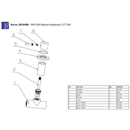 """Best Design RVS-304 Inbouw-stopkraan 1/2"""" """"Ore"""""""