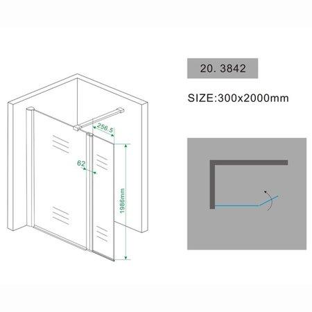 Samano Wiesbaden zijwand + scharnierprofiel 300x2000 10mm NANO glas