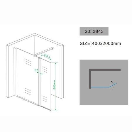 Samano Wiesbaden zijwand + scharnierprofiel 400x2000 10mm NANO glas