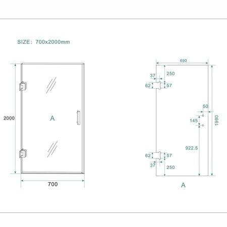 Samano Wiesbaden profielloze nisdeur 700x2000 8mm NANO glas