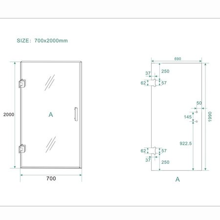 Samano Wiesbaden profielloze nisdeur 800x2000 8mm NANO glas