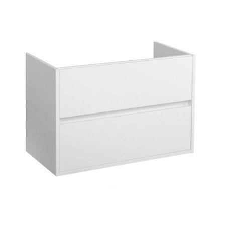 Samano Nexxt Onderkast Badkamermeubel   mat wit   80 cm   greeploos   2 lades   softclose