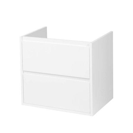 Samano New Future Onderkast Badkamermeubel | hoogglans wit | 60 cm | greeploos | 2 lades | softclose | 1 sifon- uitsparing