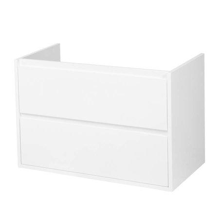 Samano New Future Onderkast Badkamermeubel | hoogglans wit | 80 cm | greeploos | 2 lades | softclose | 1 sifon- uitsparing