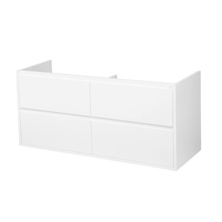 Samano New Future Onderkast Badkamermeubel | hoogglans wit | 120 cm | greeploos | 4 lades | softclose | 2 sifon- uitsparingen