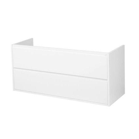 Samano New Future Onderkast Badkamermeubel | hoogglans wit | 120 cm | greeploos | 2 lades | softclose | 2 sifon- uitsparingen