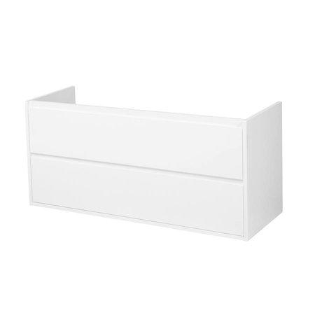 Samano New Future Onderkast Badkamermeubel | hoogglans wit | 120 cm | greeploos | 2 lades | softclose | 1 sifon- uitsparing