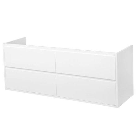 Samano New Future Onderkast Badkamermeubel | hoogglans wit | 140 cm | greeploos | 4 lades | softclose | 2 sifon- uitsparingen