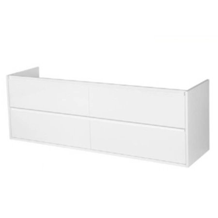 Samano New Future Onderkast Badkamermeubel | hoogglans wit | 160 cm | greeploos | 4 lades | softclose | 2 sifon- uitsparingen
