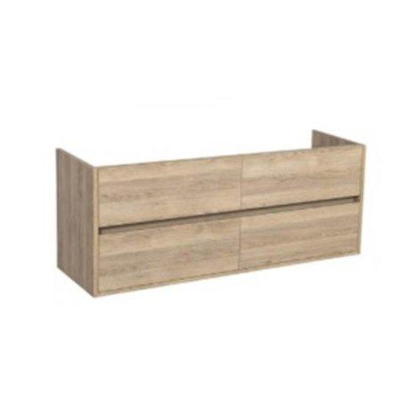 Samano Nexxt Onderkast Badkamermeubel | legno calore | 140 cm | greeploos | 4 lades | softclose | 2 sifon- uitsparingen