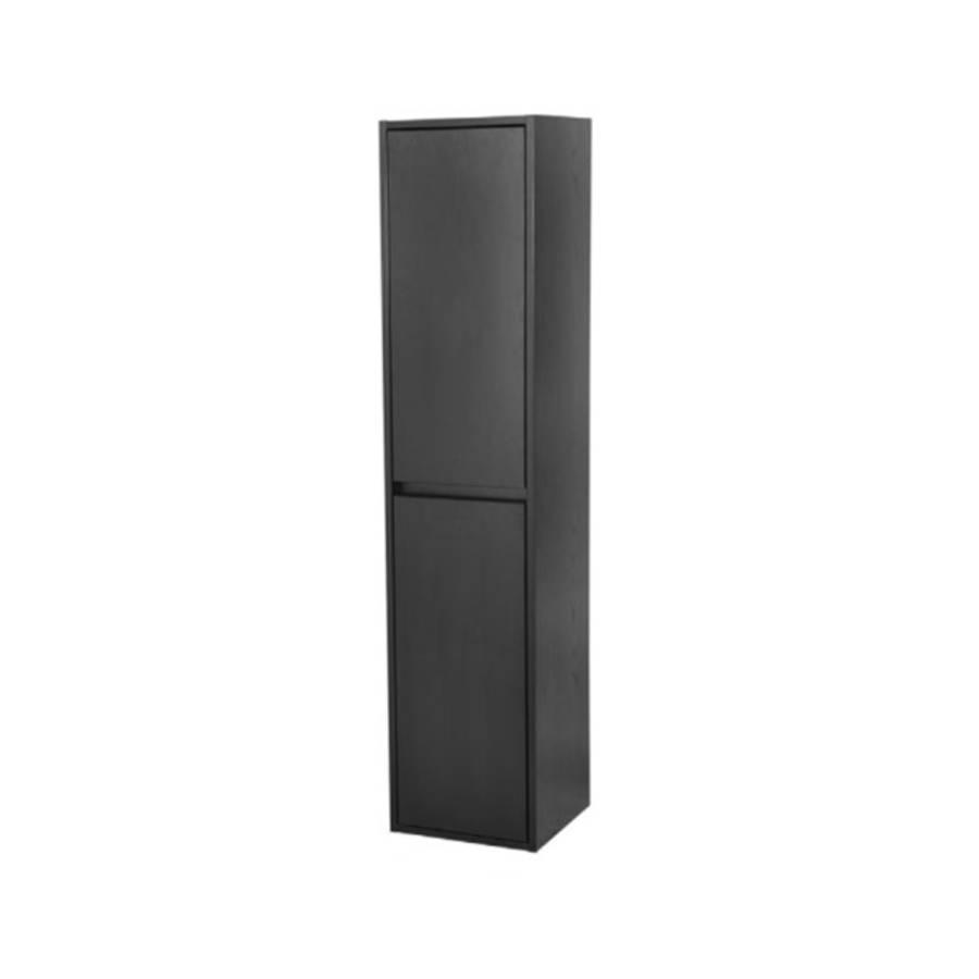 Nexxt Hoge Kast Badkamermeubel Zwart 160 Cm Greeploos 2 Deuren