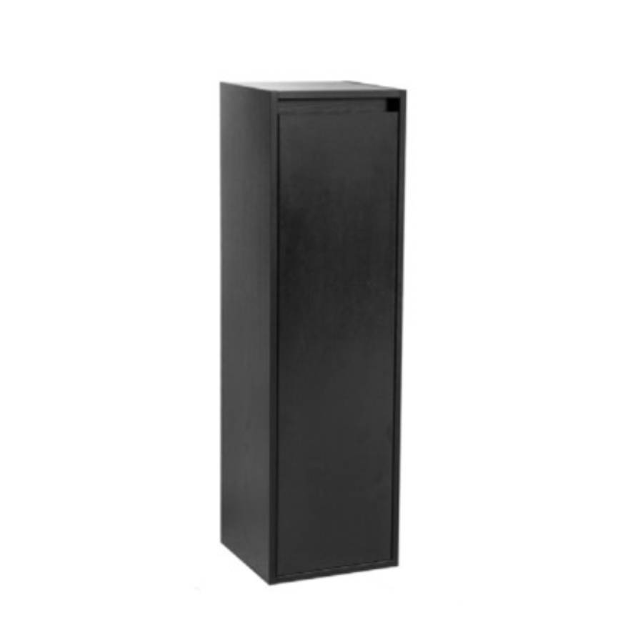 Nexxt Hoge Kast Badkamermeubel Zwart 120 Cm Rechtsdraaiend Greeploos 2 Deuren