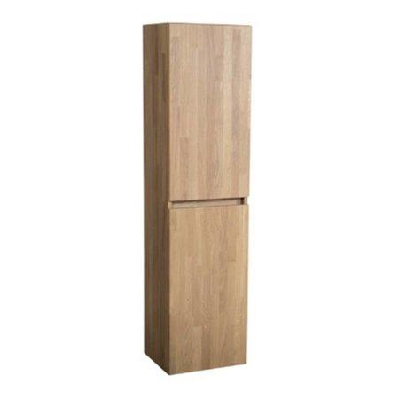 Samano Natural Wood Hoge Kast Badkamermeubel | massief eikenhout | 160 cm | greeploos | 2 deuren