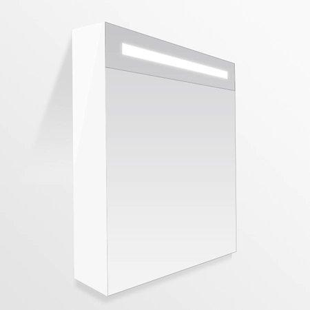 Samano Exclusive/New Future Spiegelkast | enkelzijdige spiegel | 60 cm | hoogglans wit | 1 deur | linksdraaiend | LED verlichting