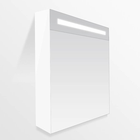 Samano Exclusive/New Future Spiegelkast | dubbelzijdige spiegel | 60 cm | hoogglans wit | 1 deur | linksdraaiend | LED verlichting