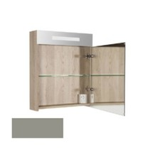 New Future Spiegelkast | dubbelzijdige spiegel | 60 cm | hoogglans taupe | 1 deur | linksdraaiend | LED verlichting