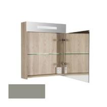 New Future Spiegelkast | dubbelzijdige spiegel | 60 cm | hoogglans taupe | 1 deur | rechtsdraaiend | LED verlichting