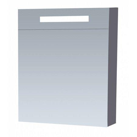 Samano New Future Spiegelkast | dubbelzijdige spiegel | 60 cm | hoogglans grijs | 1 deur | rechtsdraaiend | LED verlichting