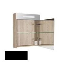 New Future Spiegelkast | dubbelzijdige spiegel | 60 cm | hoogglans zwart | 1 deur | rechtsdraaiend | LED verlichting