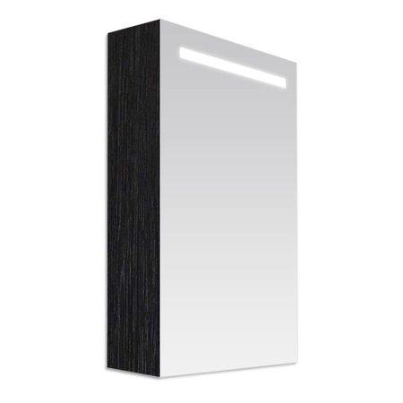 Samano Exclusive/NEXXT Spiegelkast | dubbelzijdige spiegel | 60 cm | zwart | 1 deur | linksdraaiend | LED verlichting