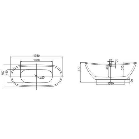 Best Design Best Design Vrijstaand Bad | Color-Silvercreek | 175x75x68cm | zilver