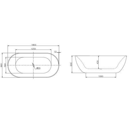 Best Design Best Design Vrijstaand Bad | Color-Nicelook | 180x86x60 cm | zilver