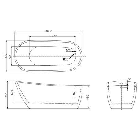 Best Design Best Design Vrijstaand Bad | Color-Croco | 180x80x73 cm | groen