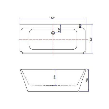Best Design Best Design Semi-Vrijstaand-Wandmodel bad | Silmo | 180x80x60 cm | wit