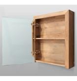Samano Natural Wood Spiegelkast   dubbelzijdige spiegel   60 cm   eikenhout   1 deur   linksdraaiend   LED verlichting