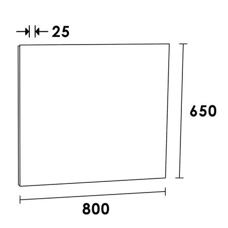 Samano Spiegel Alu | 80 cm | rechthoek | aluminium | zonder verlichting