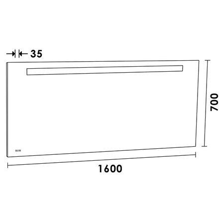 Samano Spiegel Exclusive Line Clock | 160x70 cm | rechthoek | aluminium | met LED verlichting