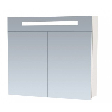 Samano 2.0 Spiegelkast   enkelzijdige spiegel   80 cm   hoogglans wit   2 deuren   LED verlichting