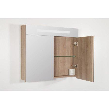 Samano 2.0 Spiegelkast | enkelzijdige spiegel | 80 cm | legno calore | 2 deuren | LED verlichting