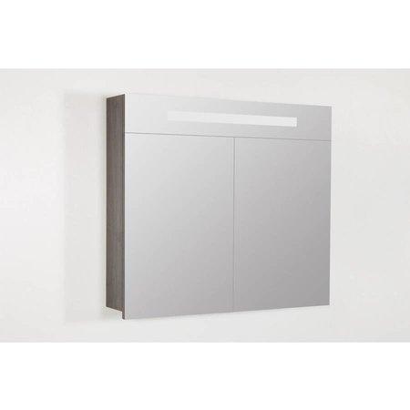 Samano 2.0 Spiegelkast | enkelzijdige spiegel | 80 cm | antraciet | 2 deuren | LED verlichting