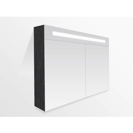 Samano 2.0 Spiegelkast | enkelzijdige spiegel | 80 cm | zwart | 2 deuren | LED verlichting