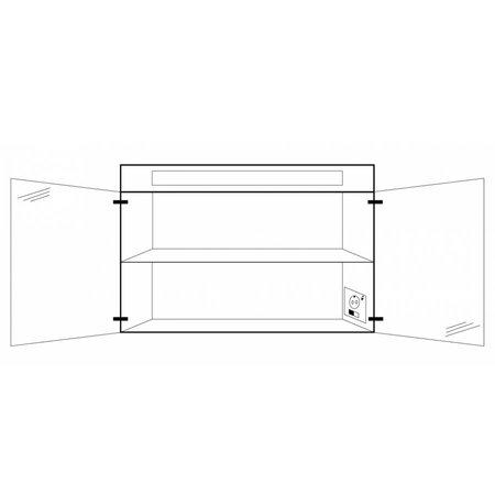Samano Spiegelkast | dubbelzijdige spiegel | 80 cm | mat wit | 2 deuren | LED verlichting