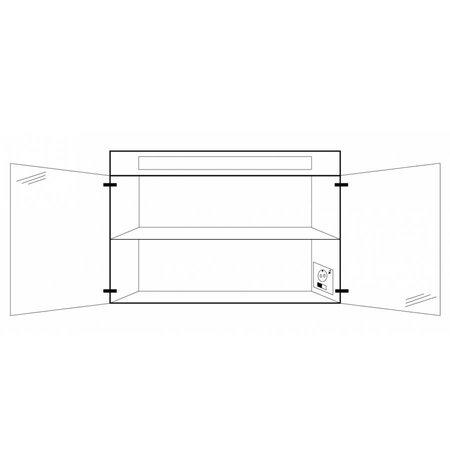 Samano Spiegelkast   dubbelzijdige spiegel   80 cm   hoogglans wit   2 deuren   LED verlichting