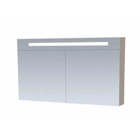 Samano Spiegelkast | dubbelzijdige spiegel | 80 cm | taupe | 2 deuren | LED verlichting
