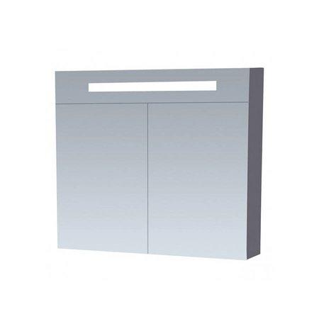 Samano Spiegelkast | dubbelzijdige spiegel | 80 cm | hoogglans grijs | 2 deuren | LED verlichting