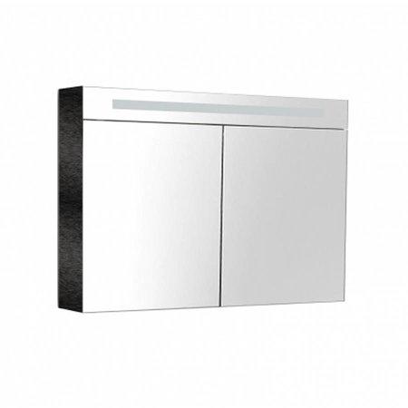 Samano Spiegelkast | dubbelzijdige spiegel | 80 cm | hoogglans zwart | 2 deuren | LED verlichting