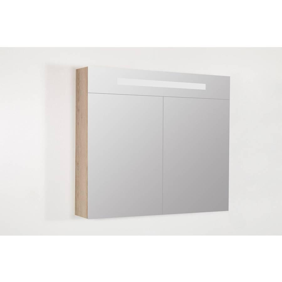 samano spiegelkast dubbelzijdige spiegel 80 cm legno calore 2 deuren led