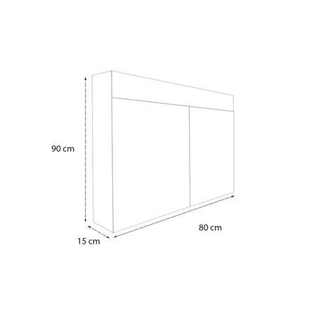 Samano Spiegelkast   dubbelzijdige spiegel   80 cm   zwart   2 deuren   LED verlichting