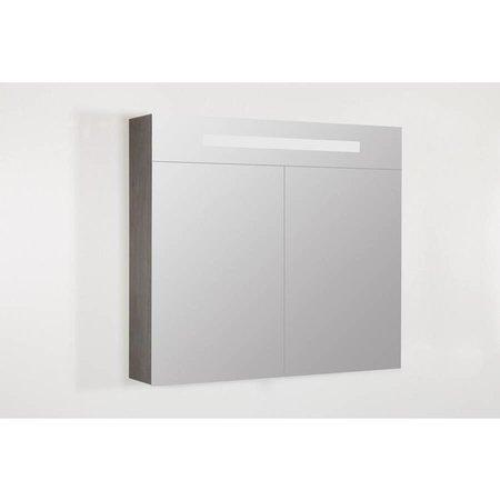 Samano Spiegelkast | dubbelzijdige spiegel | 80 cm | legno antraciet | 2 deuren | LED verlichting