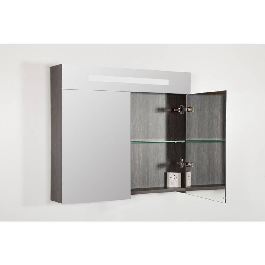 samano spiegelkast dubbelzijdige spiegel 80 cm legno antraciet 2 deuren led