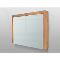 Spiegelkast | dubbelzijdige spiegel | 80 cm | eiken | 2 deuren | LED verlichting