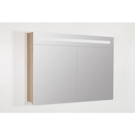 Samano 2.0 Spiegelkast | enkelzijdige spiegel | 100 cm | legno calore | 2 deuren | LED verlichting