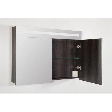 Samano 2.0 Spiegelkast | enkelzijdige spiegel | 100 cm | antraciet | 2 deuren | LED verlichting