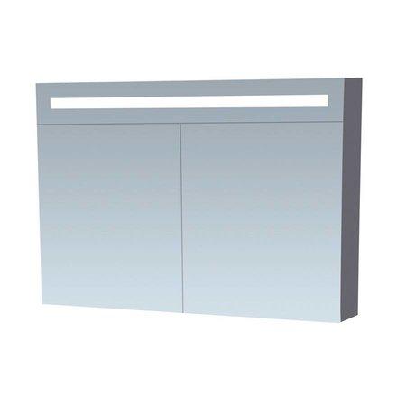 Samano Spiegelkast | dubbelzijdige spiegel | 100 cm | grijs | 2 deuren | LED verlichting