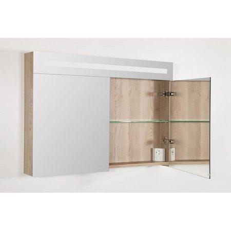 Samano Spiegelkast | dubbelzijdige spiegel | 100 cm |  legno calore | 2 deuren | LED verlichting