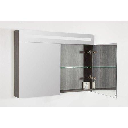 Samano Spiegelkast | dubbelzijdige spiegel | 100 cm |  antraciet | 2 deuren | LED verlichting